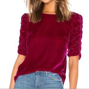 Rebecca Taylor Ruched Sleeve Velvet Top